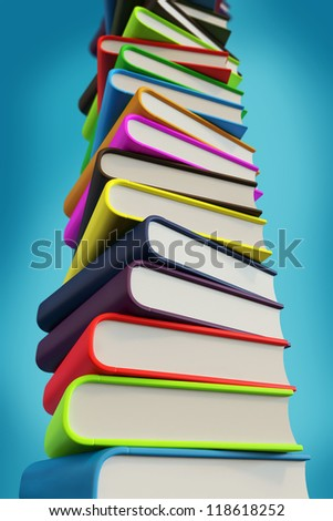 Big pile of 3d books - stock photo