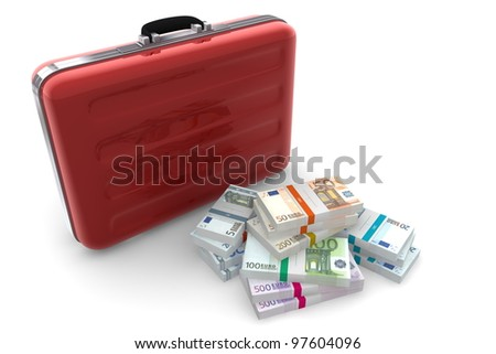 big pile of euro banknotes with wrapper / banderole next to a metallic red briefcase - stock photo