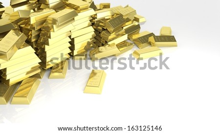 Big pile of gold bars isolated on white - stock photo