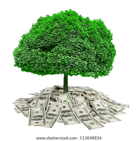 big pile of money. dollars over white background and tree. finances - stock photo
