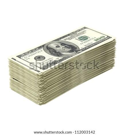 Big pile of money isolated on white (dollar version) - stock photo