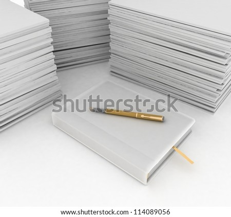 Big pile of paper, notebook and pen  on white background - stock photo