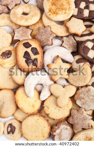 big pile of various cookies background - stock photo