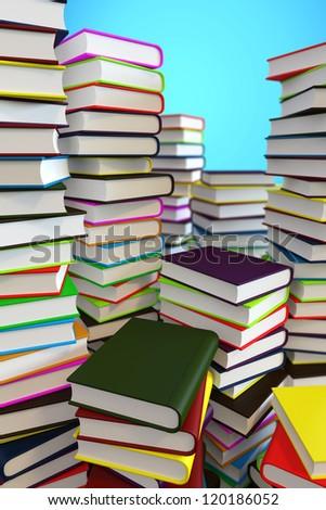 Big piles of books - stock photo