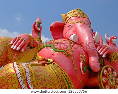 big pink Ganesha in relax pose, thailand - stock photo