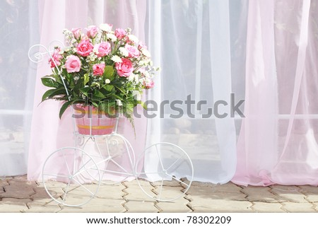 Big Pink Roses Bouquet - stock photo