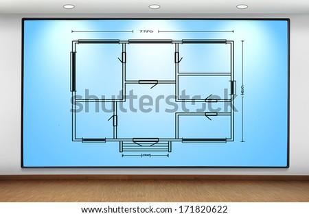 big  plasma panel on wall with blueprint - stock photo