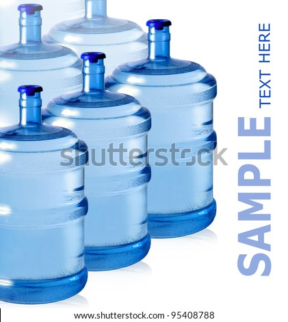 big plastic bottles for potable water isolated on a white background