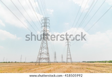 Big pole of cable power from power plant to village People will have to use electricity