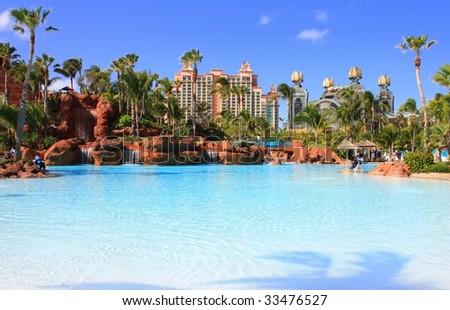 Big pool on Paradise island - stock photo