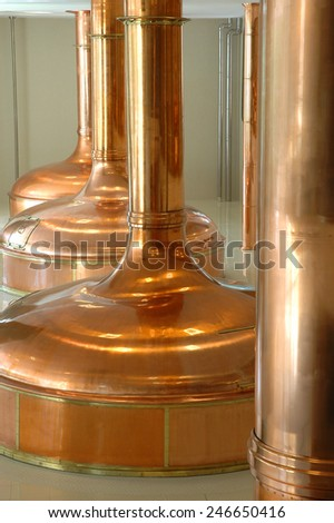 big pot brewery boiler beer made from  copper - stock photo