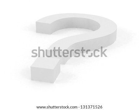 Big Question mark in 3D with White color - stock photo