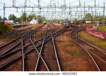 Big railway station - stock photo