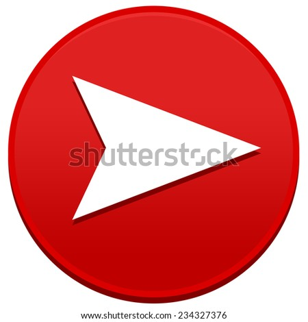 Big red arrow button isolated on white background - stock photo
