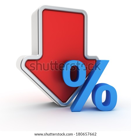 Big red arrow with small blue percent symbol - stock photo