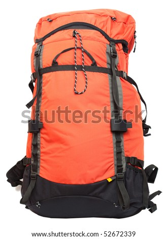 Big red-black backpack isolated on white background - stock photo