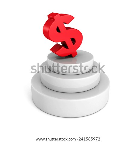 big red dollar currency symbol on concrete podium. financial business success concept 3d render illustration - stock photo