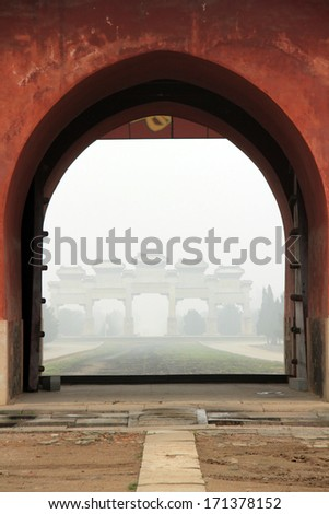 Big red door Landscape architecture, Eastern Royal Tombs of the Qing Dynasty on May 13, 2012, Zunhua City, Hebei Province, china.