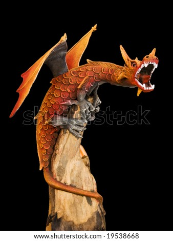 big red dragon with open mouth - stock photo