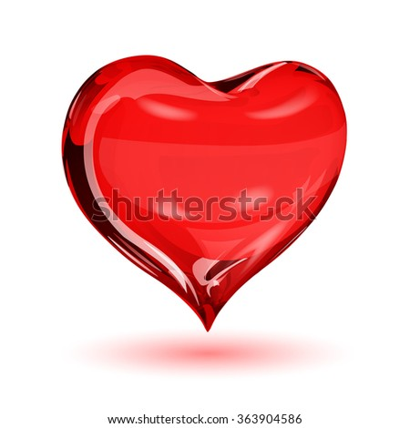 Big red heart on white background with shadow