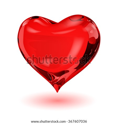 Big red heart on white background with shadow - stock photo