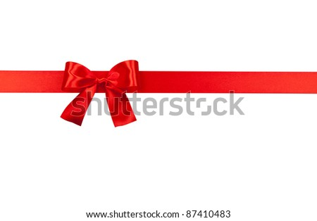 Big red holiday bow isolated on white background - stock photo