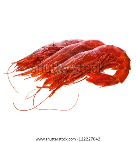 Big  red prawns   isolated on a white background - stock photo