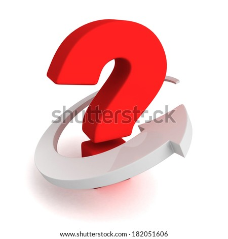 Big red question mark with white arrow around. 3d render illustration - stock photo