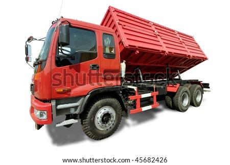 Big red truck tipper - stock photo