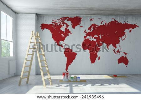 Big red world map painted on a wall in a room (3D Rendering) - stock photo