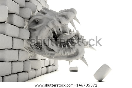 big reptile alien monster attacking and crushing a brick wall; symbol of an imminent danger - stock photo