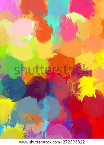 Big round colorful brush strokes background. Raster version - stock photo