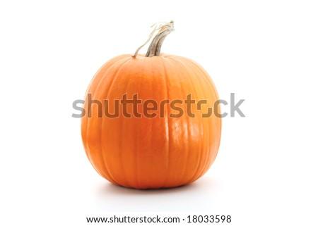 Big round orange pumpkin isolated on white - stock photo