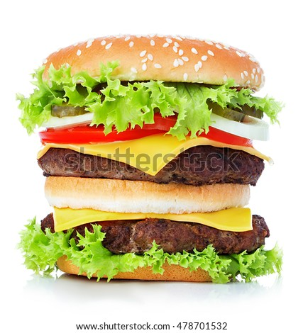 Big royal cheeseburger close-up isolated on white background.