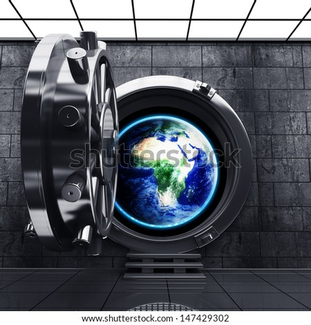 Big safe door with Earth showing Europe and Africa. Extremely detailed image, including elements furnished by NASA . High resolution 3D image - stock photo