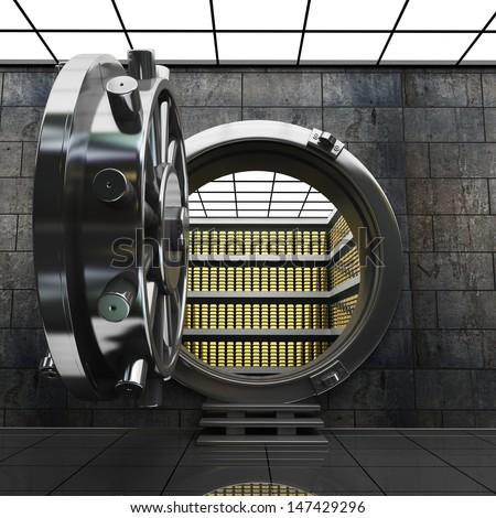 Big safe door with Gold ingots. High resolution 3D image - stock photo