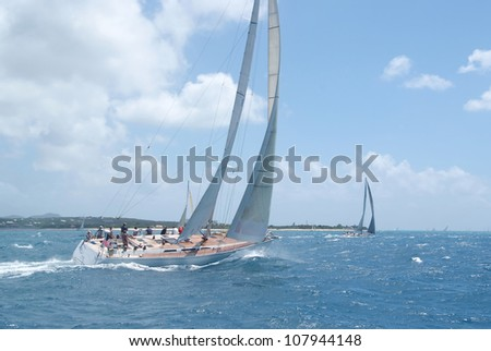 Big sailing boat during regatta