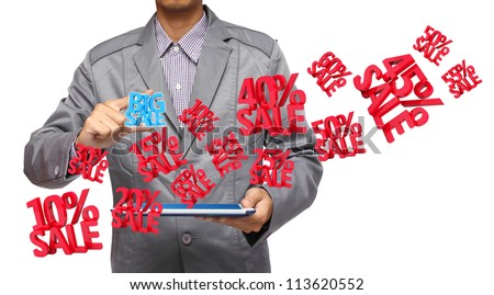 Big sale 3d in hand holding a touchpad pc, isolated on white background - stock photo