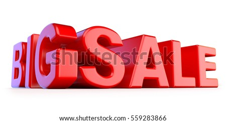 Big sale 3D red text render illustration isolated on white background