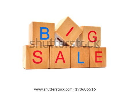 Big sale - text in wooden cubes, business shopping concept words - stock photo