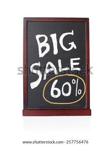 Big sale 60 % written on chalkboard isolated object - stock photo