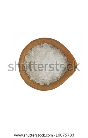 big salt in the plate isolated over white