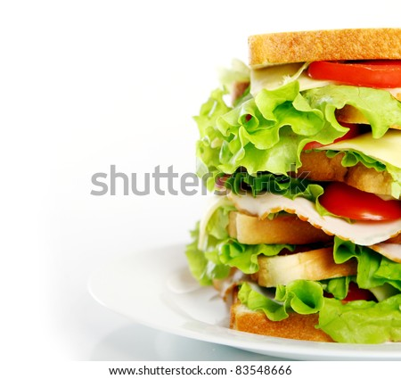 Big sandwich on the plate isolated over white background - stock photo
