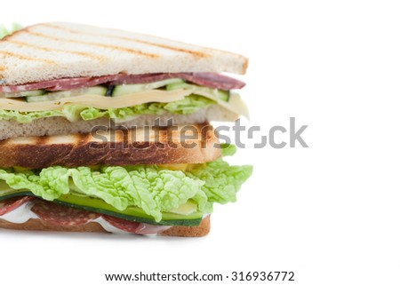 big sandwich with  bacon and cheese on a white background - stock photo
