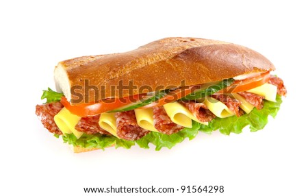 big sandwich with fresh vegetables isolated on white background - stock photo