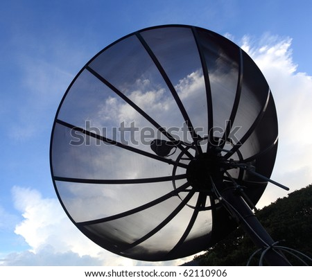 Big satellite dish close up view - stock photo