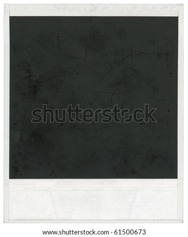 Big scan of instant photo frame isolated inside and outside with clipping path - stock photo