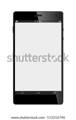 Big Screen Smart Phone Isolated on White background - stock photo
