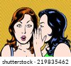 big secret comic pop art illustration of two beauties with orange background - stock vector