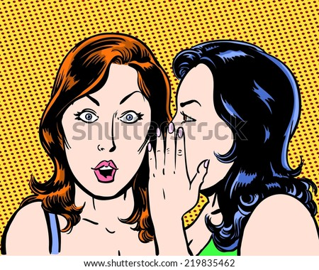 big secret comic pop art illustration of two beauties with orange background